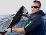 ANGLER: Damien Richards SPECIES: Yellowfin Tuna WEIGHT: Est. 10-15 Kg TACKLE: 24 Kg LURE: Evil Chopper
